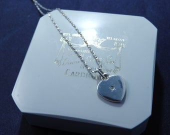 """Sparkly silver heart pendant necklace - 925 - sterling silver - 18"""" necklace - k"""