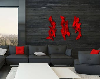 "Modern Dimensional Contemporary Abstract Red Metal Wall Sculptures ""3 Tempests"" by Dustin Miller"
