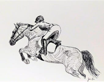 "Original Horse Show Jumping Art 11""x14"", Horse Show Jumping Drawing"