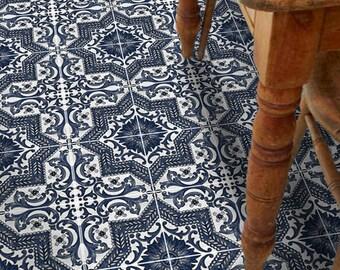 Vinyl Floor Tile Sticker - Floor decals - Provence Hand Painted Tile Sticker Pack in Indigo