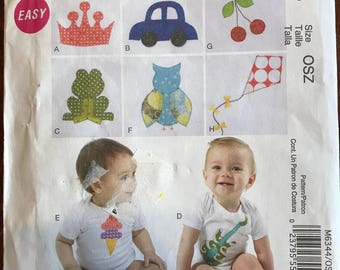 McCalls M6344 - Easy Infant's Onesie with Crown, Car, Cherry, Frog, Owl, Kite, Ice Cream Cone, and Guitar by Lola Lou - Size S M L XL