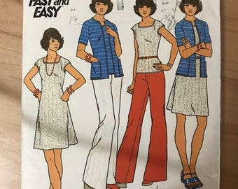 Butterick 3583 - 1970s Flared Dress, Top, Button Front Shirt, and Wide Legged Pants - Size 14 Bust 36