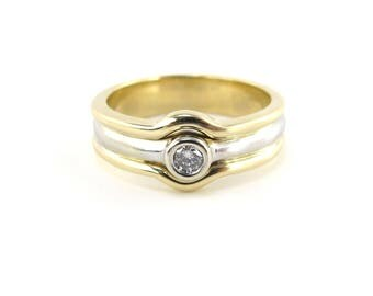 14K Yellow And White Gold Diamond Band, 14k Gold Wedding Ring