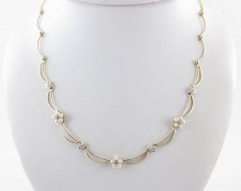 14k Yellow Gold Diamond And Pearl Necklace - 14k Yellow Gold Gemstones Necklace 17 Inches