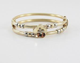 """14K Yellow And White Gold Flower Design Bangle Bracelet 7"""" 26.2 g"""