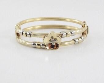 14K Yellow Gold Bangle Bracelet - Italian Made Two Tone Flower Design Bangle 26.2 g