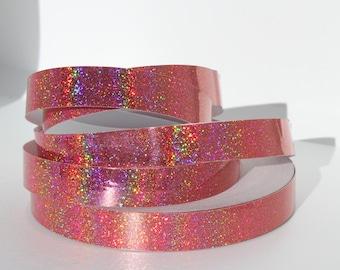 "3/4"" Rose Quartz Holographic Glitter JAMtape -  Hula Hoop Tape - Decorative Craft Tape - Fish Lure Tape - 50ft, 100ft or 150ft Rolls"