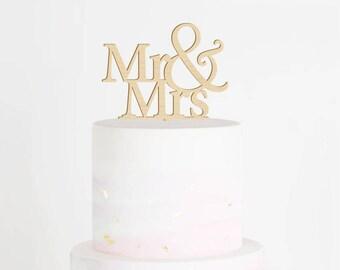 SALE - Mr & Mrs Cake Topper, Wedding Cake Topper, Mr and Mrs Cake Topper, Wood Cake Topper, Classic Cake Topper, Engagement Cake Topper