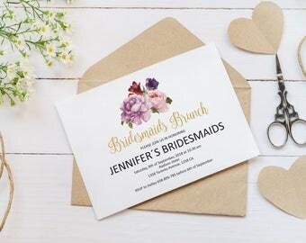 Bridesmaids Brunch Invitation Template, Purple Peonies Bridesmaids Brunch Invite Printable, Bridal luncheon invitation, bridal lunch invite