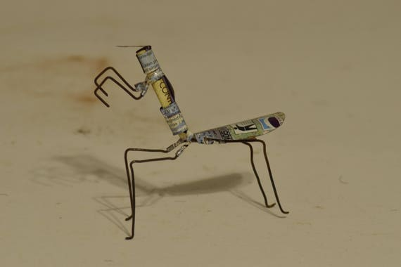 Toy Praying Mantis African Recycle Mulit Color Tin Can Tanzania Handmade Vintage Toy Scorpion Animals Recycled Tin Unique One of a Kind