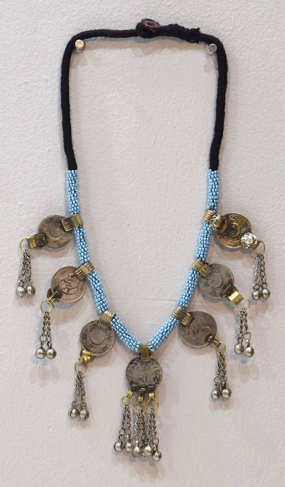 Necklace Middle East Blue Beaded Silver Kuchi Coin Necklace 30""