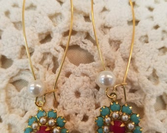 Long Pearl with Turquoise, White & Red  EE-105