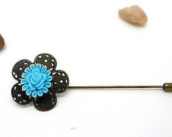 Brooch pin bronze vintage cabochon blue flower charms and co.