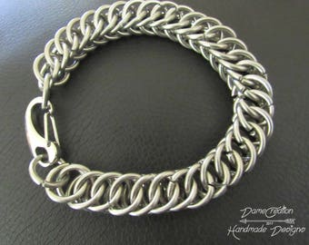 Chainmaille Bracelet - Mens Jewelry - Stainless Steel Jewelry - Half Persian - Biker Chain Bracelet - Chainmail Bracelet