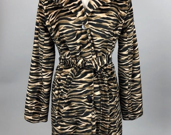 Vintage 90s Coat Tiger Stripe Animal Print Faux Fur Belted Trench Jacket Womens Size Medium