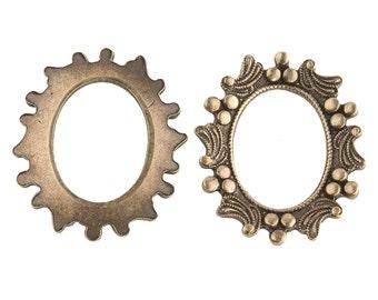 Vintage oxidized brass frame for a 19x14mm cabochon. Pkg of 1. b9-0956