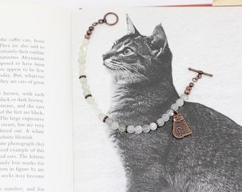 Cat Bracelet | Asymmetrical White Moonstone Antique Copper Bracelet with Cat | Gemstone Charm Bracelet