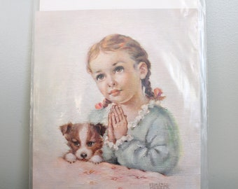 1960 Florence Kroger Litho Print, Girl Praying With Puppy, No. 42854, 5x6 Inches, New in Plastic