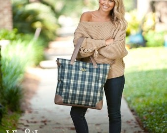 Monogrammed Shoulder Bag Plaid Tote Bag Zipper Top Personalized Bridesmaids Gifts Monogrammed Gifts for Her/Him