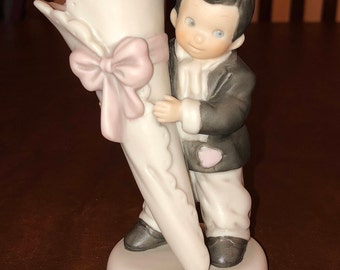 Kim Anderson's Pretty As A Picture by Enesco - 296090 - Boy Holding Bud Vase- 1997