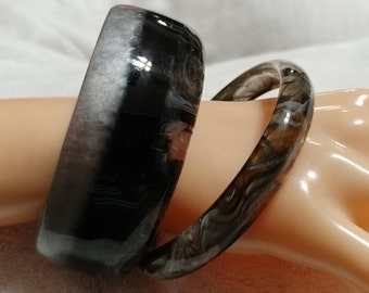 2 pc. Vintage,Black and Gray End of Day, Striped,Lucite Bangles