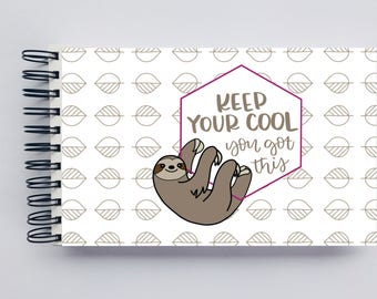 WIDE Undated Inspirational Planner - One Year Fill in Calendar Notebook - Sloth You got This Weekly Planbook - Monthly Weekly Schedule