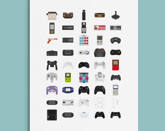 Retro gaming poster, Videogame controllers, Videogame poster, Gift for Gamer, Nintendo, Sony, Playstation, Wall Art, Sega, Gamer Poster