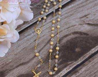 FAST SHIPPING!! Handcrafted Gold Rosary, Wedding Rosary, Communion Rosary, Christening Rosary, Confirmation Rosary, Rosary Gift, Baptism