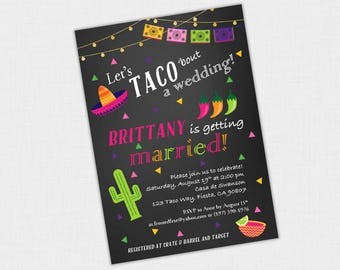 Let's Taco 'bout party Invite, Wedding Shower Invitation, Fiesta, Cactus, Mexican 5 x 7 DIY Printable PDF or JPEG