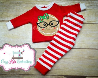 Christmas doll pajamas applique embroidery personalized custom name girl dolly me arb blanks