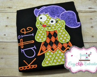 Halloween Shirt, Girl's Halloween Shirt, Girls Halloween Shirt, Zombie Shirt, Personalized Shirt, Pumpkin Patch Shirt, Embroidery