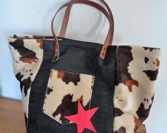 Denim and faux fur cowhide/cowhide patchwork tote bag Brown/ecru/black raspberry Red Star, camel leather handles
