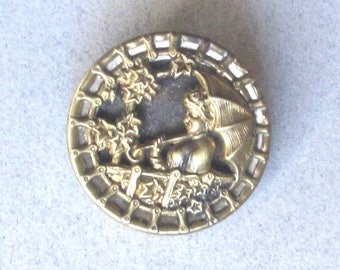 Antique Brass Picture Button--Lady With Umbrella--Twinkle Border