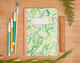 Fern Pattern Notebook | Illustrated A5 Notebook | Notebook | A5 Notebook | Plant Pattern | Leaves | Notepad | Journal | Bullet Journal