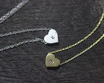 Personalized heart necklace Personalized Love necklace Delicate Engraved Heart Necklace, letter jewelry C522N-31