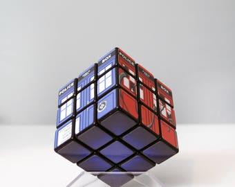 Doctor Who Inspired Custom Rubik's Cube / Custom Tardis Puzzle Photo Cube / Dr. Who Puzzle Cube / TARDIS Speed Rubik's Cube