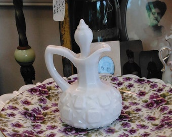 "Vintage Westmoreland Milk Glass Cruet ""Old Quilt"" Pattern!"
