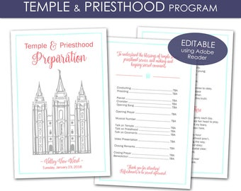 Temple and Priesthood Preparation Program - LDS Primary 2018 Editable PRINTABLE Full Page Handout Annual Presentation Meeting Girl Boy