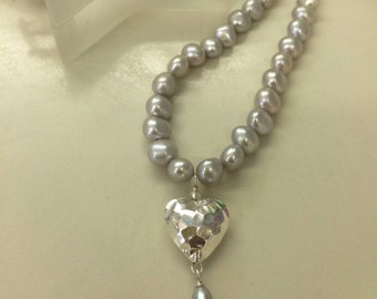 Baroque Freshwater Pearl necklace with Sterling Silver hammered heart pendant Grey or white pearls