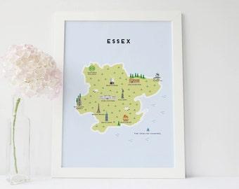 Mapa de Essex - mapa ilustrado de Essex
