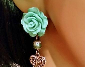 Sea Green Clip Dangle Earrings