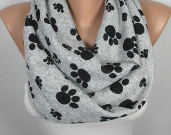 Dog Cat Paw Scarf Valentines Gift Infinity Scarf Cat Lover Dog Lover Gift Animal Scarf Christmas Gift For Her For Women Gift For Mom