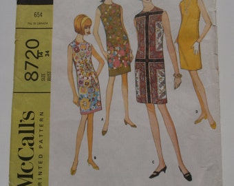 Vintage Size 14 MCCALLS 2506 Dress Sewing Pattern, Bust 34, 1960s Dress Pattern, 1960s Shift Dress, Shift Dress Pattern