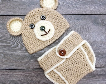 Baby Boy Hat and Diaper Cover, Baby Boy Bear Outfit, Infant Photo Prop, Photography Props, Newborn Bear Outfit