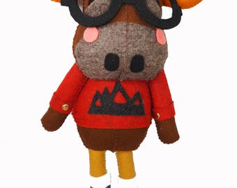 Monty the Moose - handmade plush toy creature - unique gift