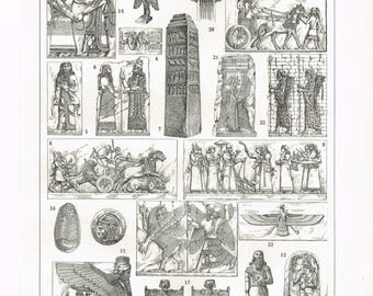 Original Vintage Black And White French Larousse Print Lithograph MESOPOTAMIA Art Architecture Book Plate
