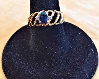 14K Gold Ring with Sapphire and Diamond