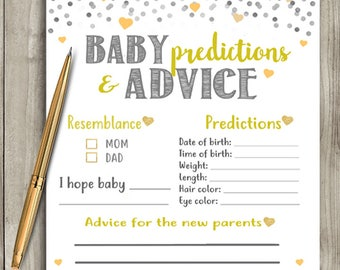 Baby Shower Game - Baby Predictions and Advice - Gender Neutral Yellow & Grey - Instant Printable Digital Download diy Baby Shower Activity