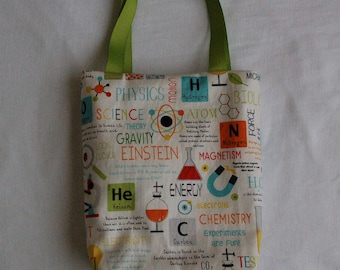 Science Fabric Gift Bag- Science on White