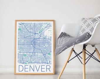 Denver Map / Denver / Denver Poster / Denver Print / Denver Wall Art / City Map Print / Denver Colorado Map